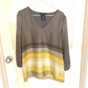 $2/20 MM Couture gray yellow stripe 3/4 sleeve TOP